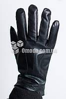 Кожаные мужские перчатки (отделочные строчки + резинка )