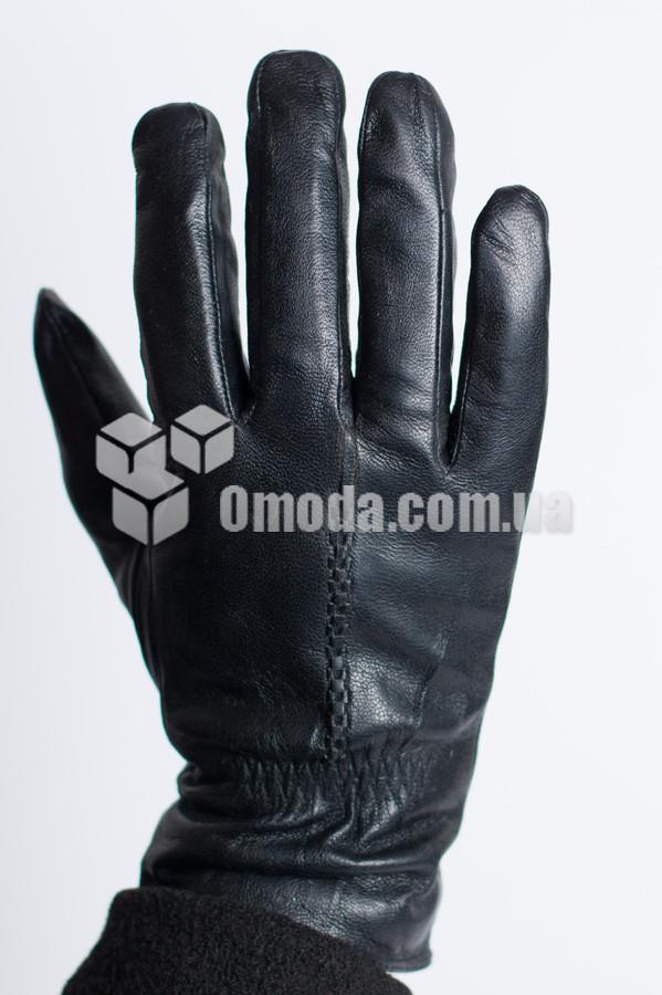 Кожаные мужские перчатки (декор + вн.резинка)