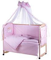 Детская постель Qvatro Ellite AE-08 аппликация  розовый (зайцы на облаке), фото 1
