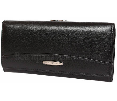 Женский кожаный кошелек черный Tailian T827 BLACK women, фото 2
