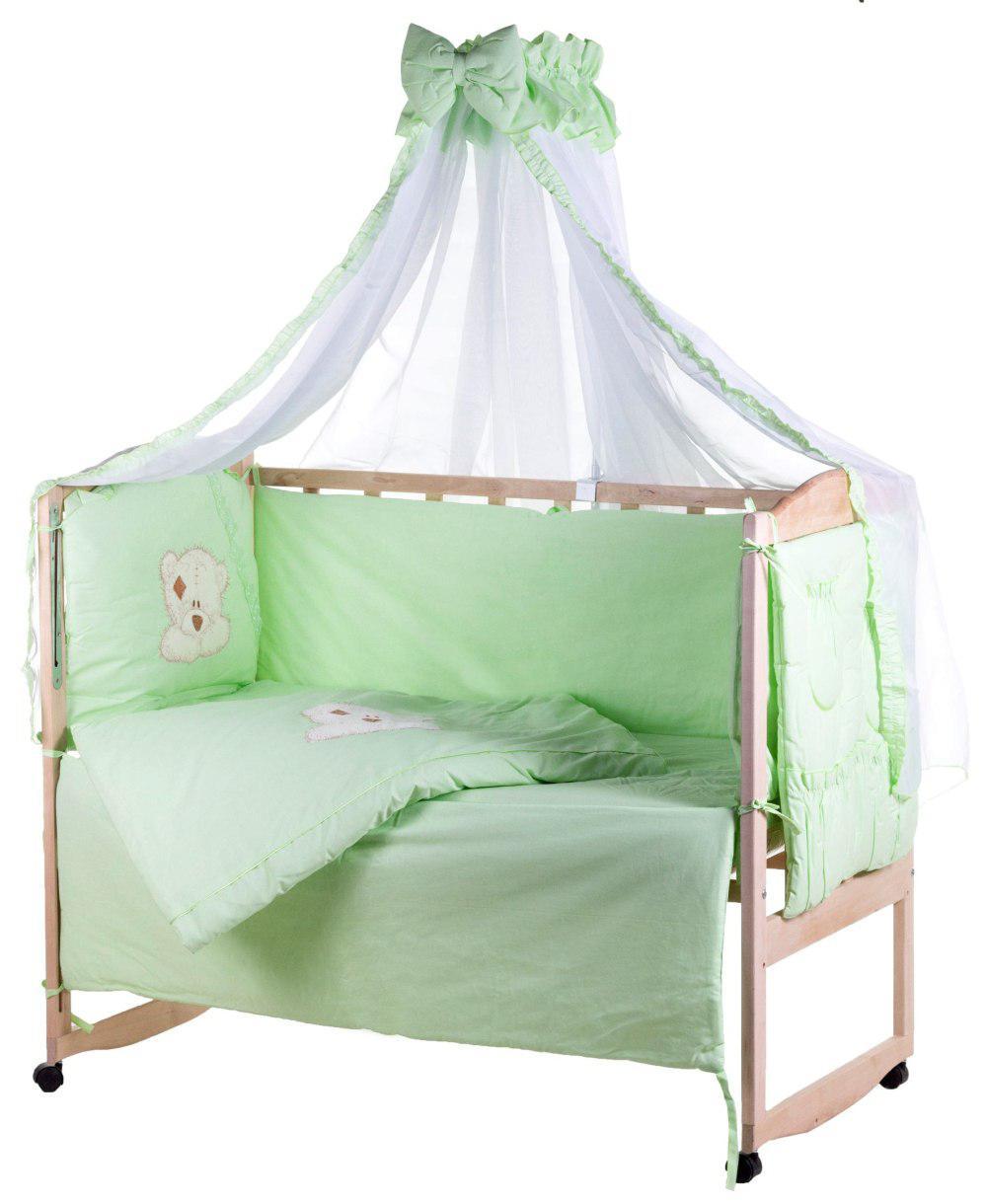 Детская постель Qvatro Ellite AE-08 аппликация  салатовый (мишка мордочка штопанная)