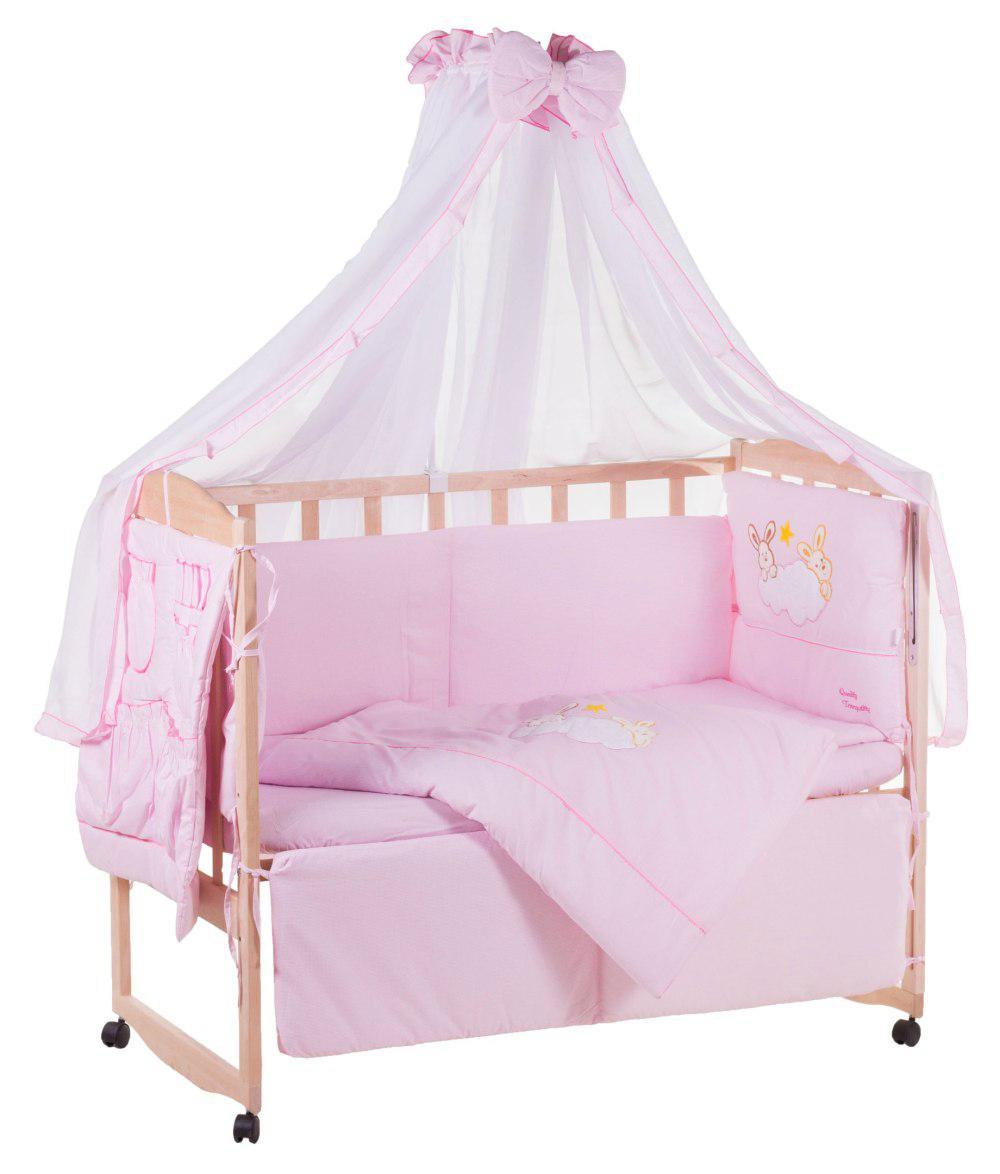 Детская постель Qvatro с аппликацией (8 элем.,со змейками на защите).  розовый (зайцы на облаке)