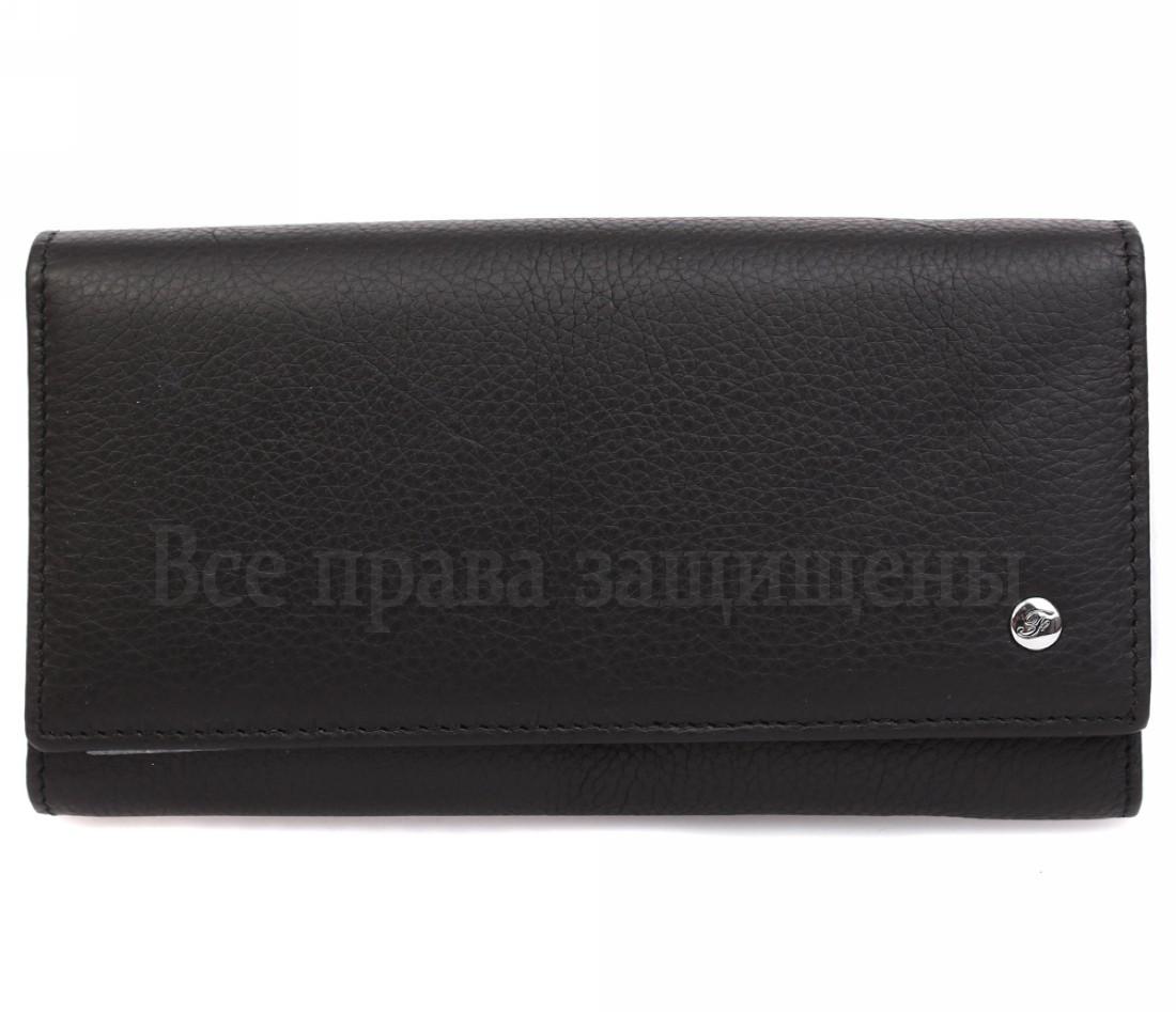 Женский кожаный кошелек черный Salfeite W46 BLACK