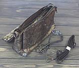Женская замшевая сумка под рептилию черно-золотистого цвета, фото 3