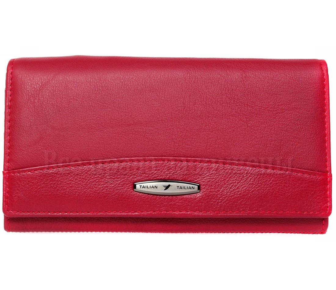 Женский кожаный кошелек красный Tailian T515 RED women