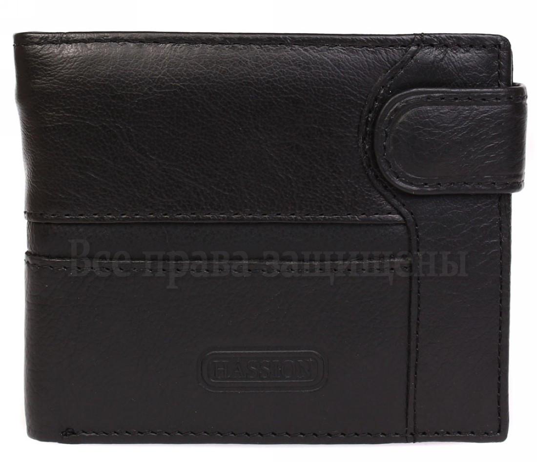 Мужской кожаный кошелек черный Hassion E60987-1BLACK