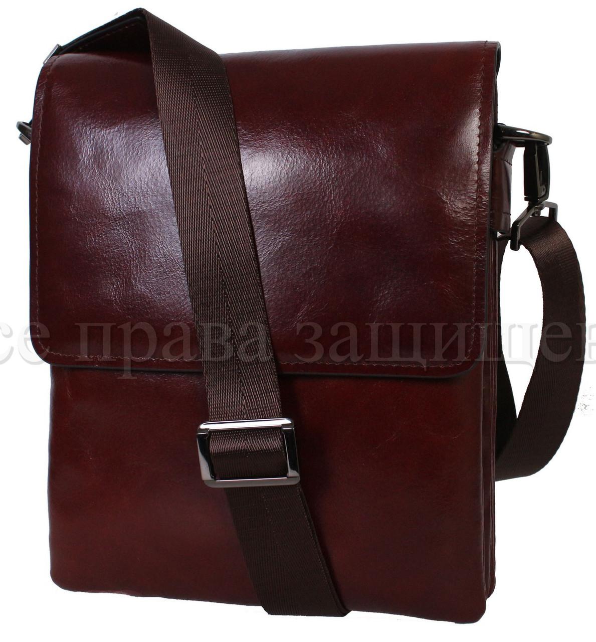 Чоловіча шкіряна сумка коричневий (Формат: більше А5) NAVI-BAGS NV-0801-brown