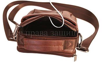 Мужская кожаная сумка через плечо кофейный (Формат: меньше А5) NAVI-BAGS NV-1016-cofee, фото 2
