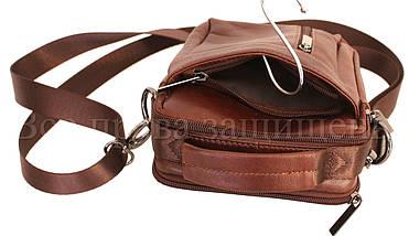 Мужская кожаная сумка через плечо кофейный (Формат: меньше А5) NAVI-BAGS NV-1016-cofee, фото 3