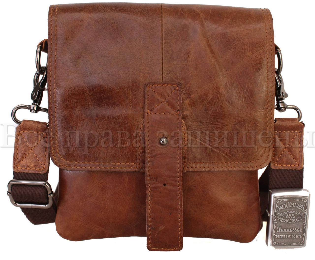 Мужская кожаная сумка через плечо кофейный (Формат: больше А5) NAVI-BAGS NV-1014-cofee