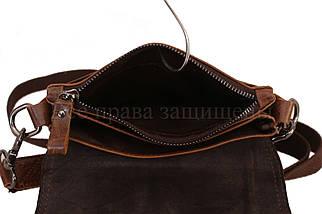 Мужская кожаная сумка через плечо кофейный (Формат: больше А5) NAVI-BAGS NV-1014-cofee, фото 3
