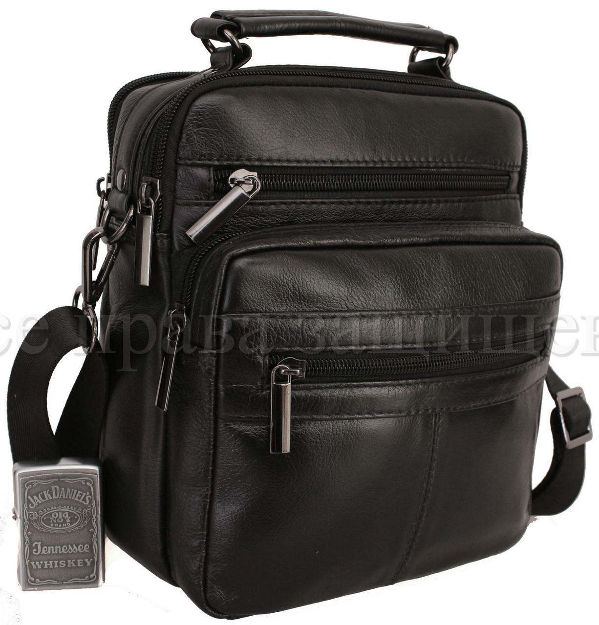Мужская кожаная сумка через плечо черный (Формат: больше А5) NAVI-BAGS 0815-black