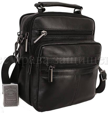 Мужская кожаная сумка через плечо черный (Формат: больше А5) NAVI-BAGS 0815-black, фото 2