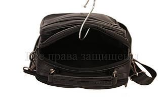 Мужская кожаная сумка через плечо черный (Формат: больше А5) NAVI-BAGS 0815-black, фото 3