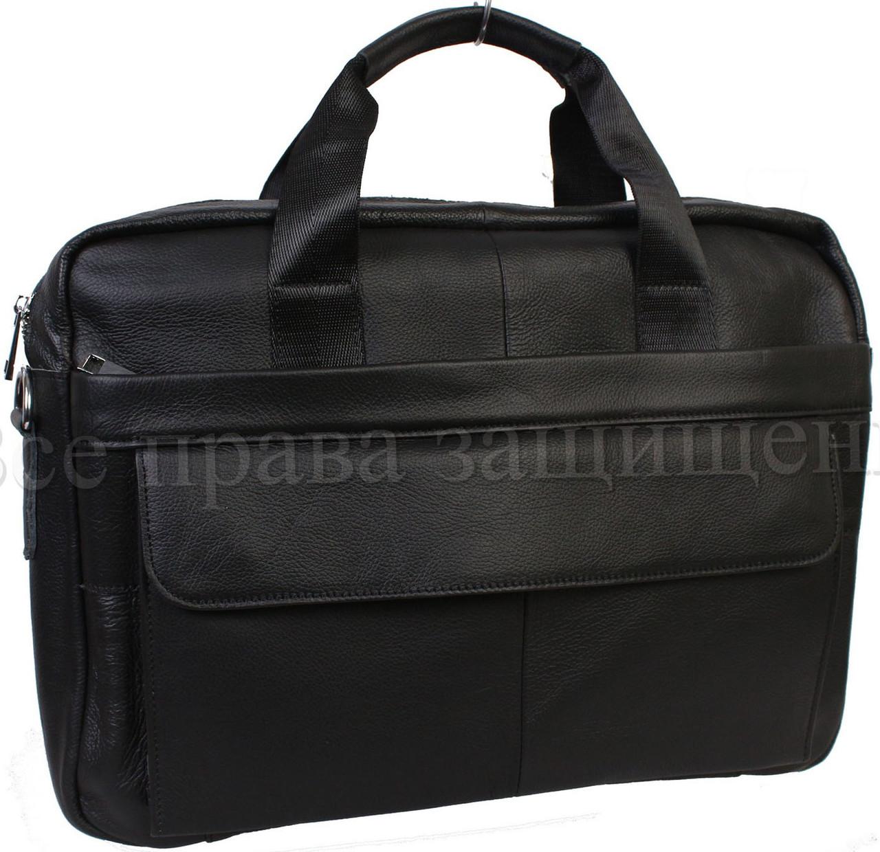 Мужская кожаная сумка черный (Формат: больше А4) NAVI-BAGS NV-9022-black