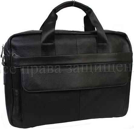 Мужская кожаная сумка черный (Формат: больше А4) NAVI-BAGS NV-9022-black, фото 2