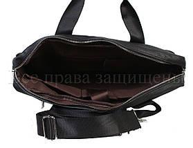 Мужская кожаная сумка черный (Формат: больше А4) NAVI-BAGS NV-9022-black, фото 3