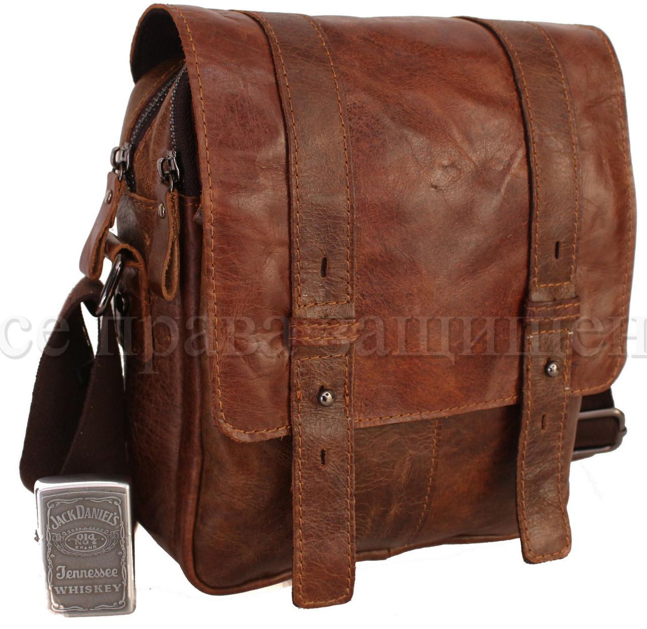 Мужская кожаная сумка через плечо кофейный (Формат: больше А5) NAVI-BAGS NV-1021-cofee
