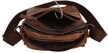 Мужская кожаная сумка через плечо кофейный (Формат: больше А5) NAVI-BAGS NV-1021-cofee, фото 3