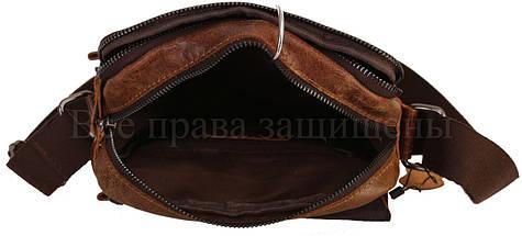 Мужская кожаная сумка через плечо кофейный (Формат: больше А5) NAVI-BAGS NV-1021-cofee, фото 2