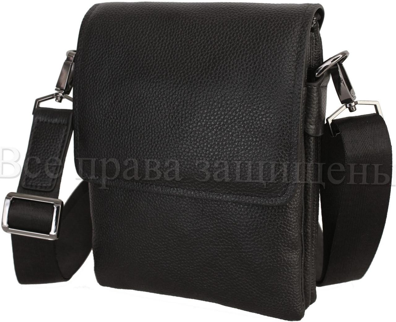 Мужская кожаная сумка через плечо черный (Формат: меньше А5) NAVI-BAGS NV-2008-black