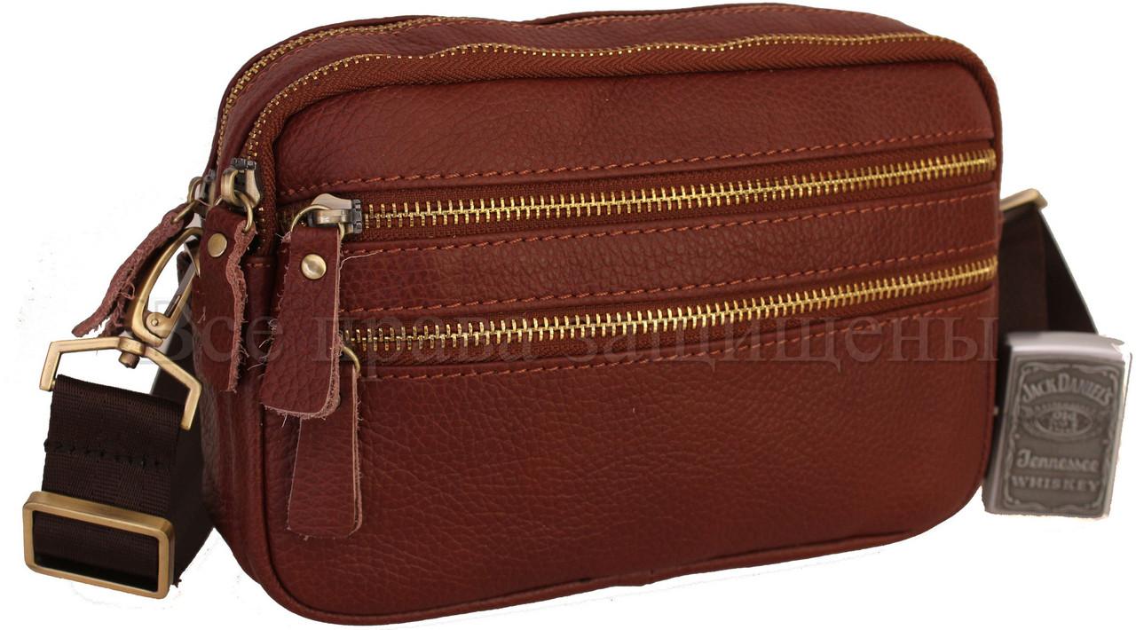Мужская кожаная сумка через плечо коричневый (Формат: А5) NAVI-BAGS 0808-brown