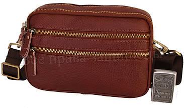 Мужская кожаная сумка через плечо коричневый (Формат: А5) NAVI-BAGS 0808-brown, фото 3