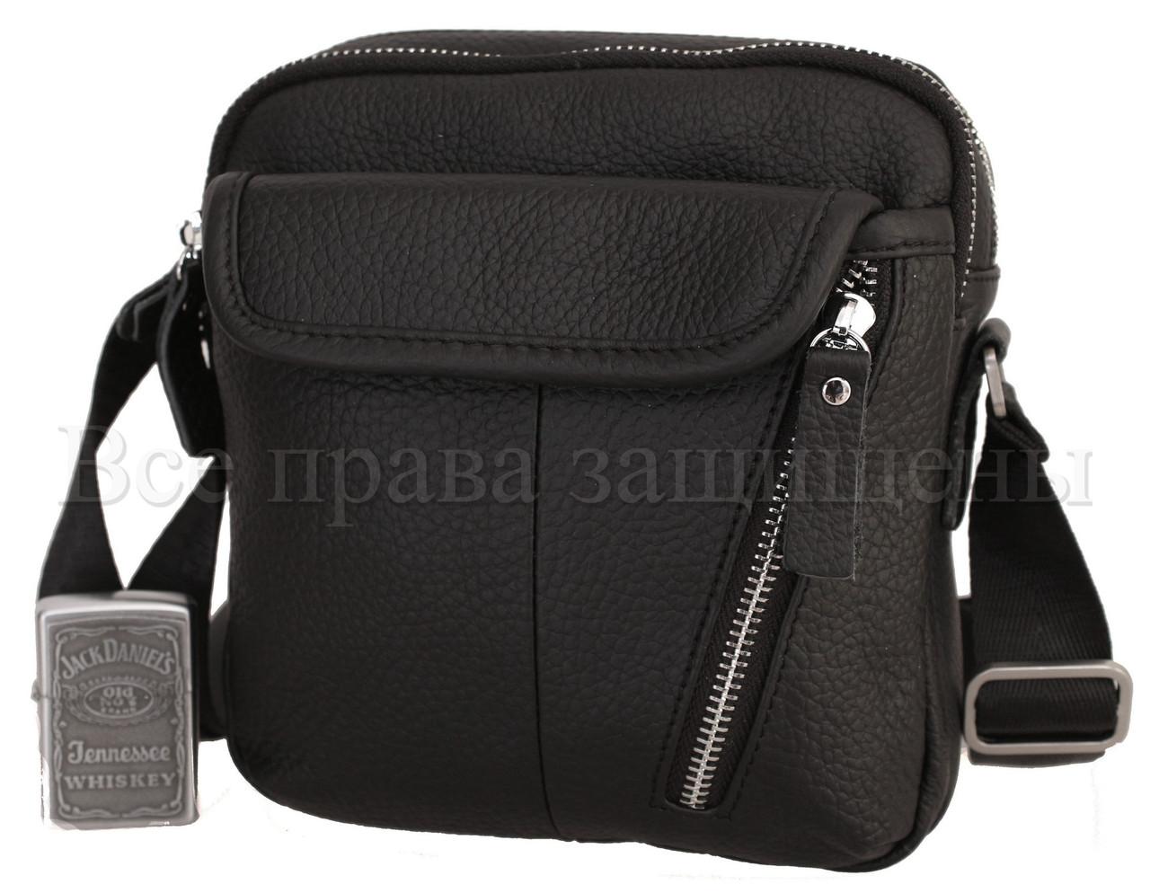 Чоловіча шкіряна сумка чорний (Формат: менше А5) NAVI-BAGS 0809-black