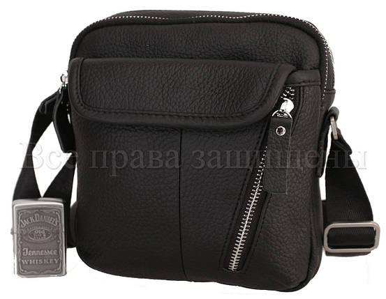 Чоловіча шкіряна сумка чорний (Формат: менше А5) NAVI-BAGS 0809-black, фото 2