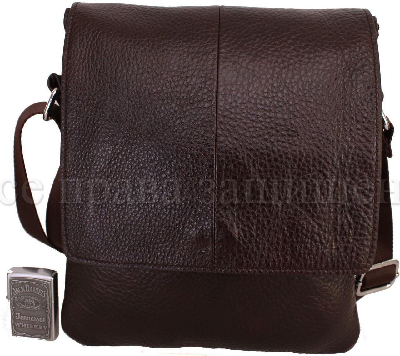 Мужская кожаная сумка через плечо коричневый (Формат: больше А5) NAVI-BAGS 0816-brown