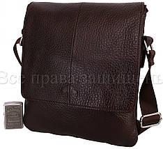 Мужская кожаная сумка через плечо коричневый (Формат: больше А5) NAVI-BAGS 0816-brown, фото 3