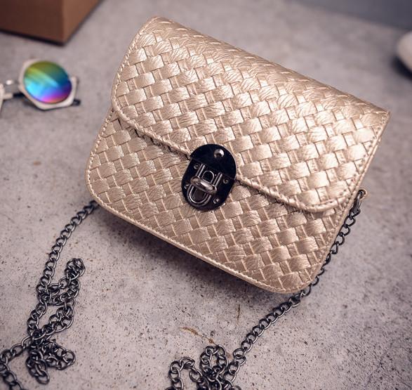 Женская сумка - клатч на цепочке Золото