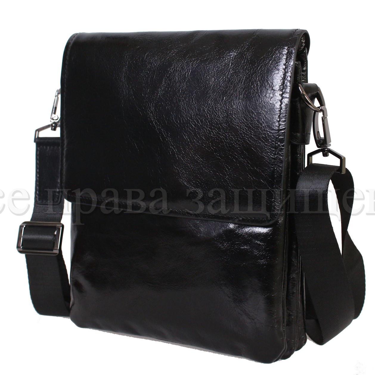 Мужская кожаная сумка через плечо черный (Формат: больше А5) NAVI-BAGS NV-0801-black-lak+