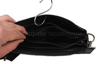 Мужская кожаная сумка через плечо черный (Формат: больше А5) NAVI-BAGS NV-0801-black-lak+, фото 3