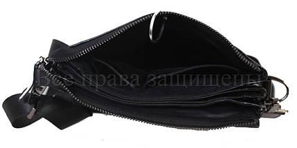 Мужская кожаная сумка через плечо черный (Формат: больше А5) NAVI-BAGS NV-0801-black-lak+, фото 2
