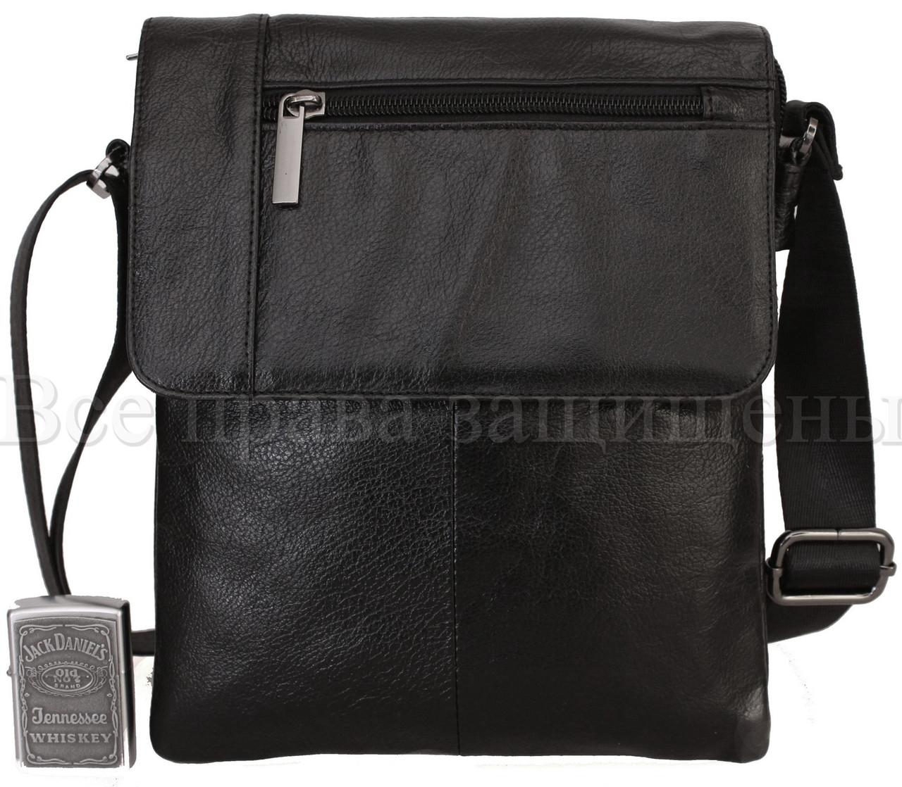 Мужская кожаная сумка через плечо черный (Формат: больше А5) NAVI-BAGS NV-1013-black