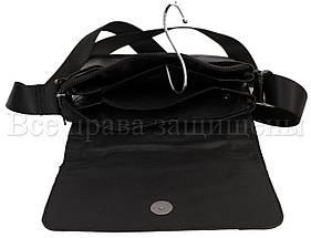 Мужская кожаная сумка через плечо черный (Формат: больше А5) NAVI-BAGS NV-1013-black, фото 3