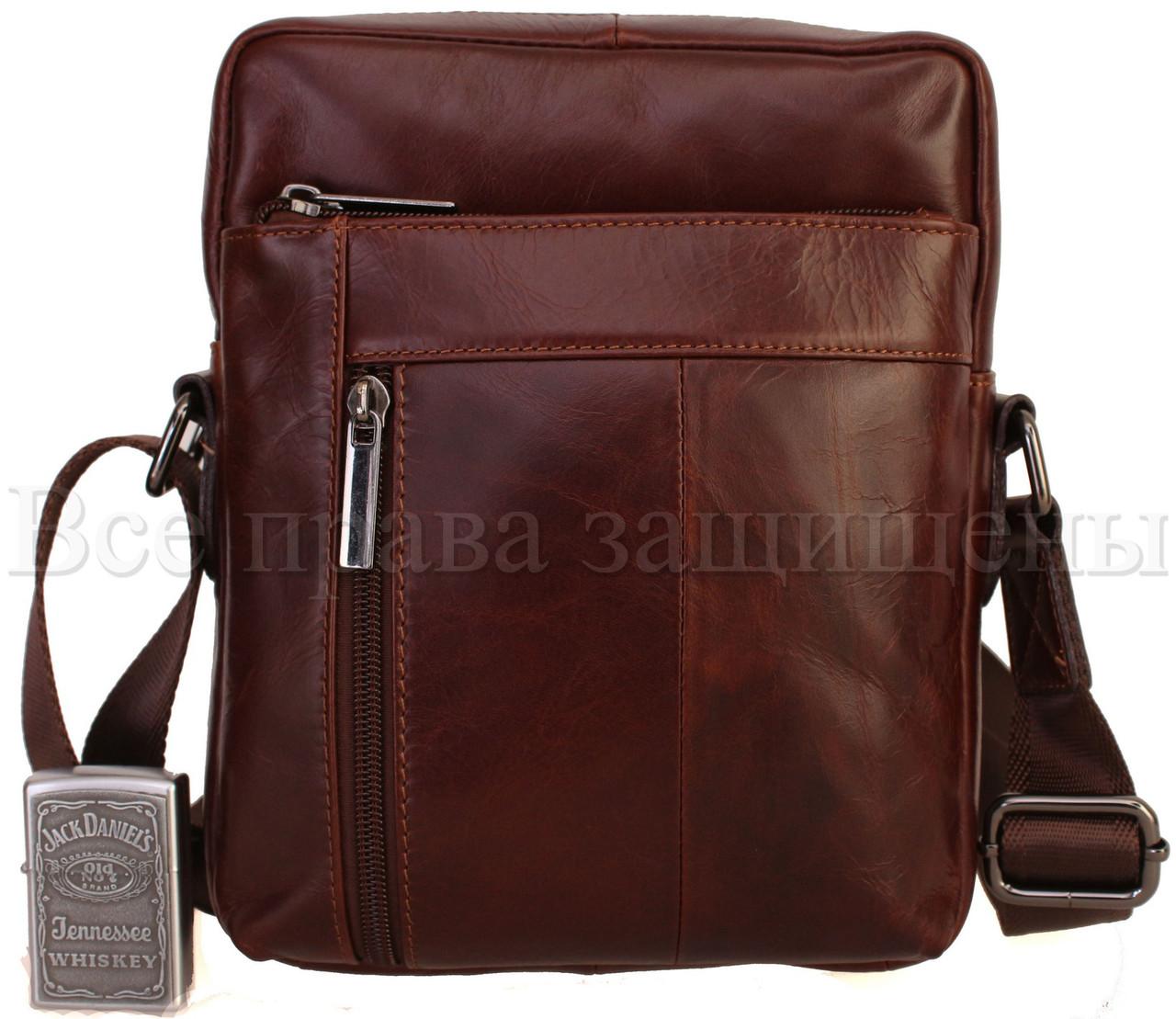 Мужская кожаная сумка через плечо кофейный (Формат: больше А5) NAVI-BAGS NV-1022-cofee