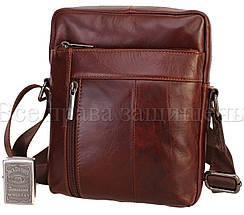 Мужская кожаная сумка через плечо кофейный (Формат: больше А5) NAVI-BAGS NV-1022-cofee, фото 3