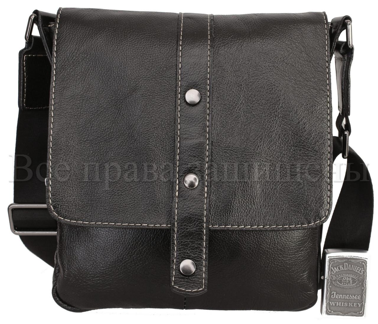 Мужская кожаная сумка через плечо черный (Формат: больше А5) NAVI-BAGS NV-1018-black