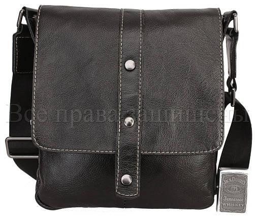 Мужская кожаная сумка через плечо черный (Формат: больше А5) NAVI-BAGS NV-1018-black, фото 2