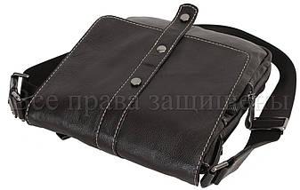 Мужская кожаная сумка через плечо черный (Формат: больше А5) NAVI-BAGS NV-1018-black, фото 3