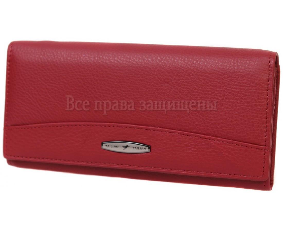 Женский кожаный кошелек красный Tailian T-849-RED