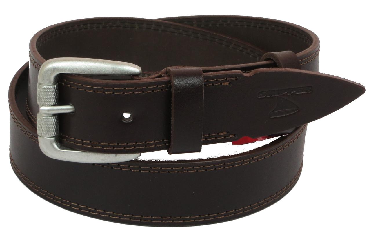 Мужской кожаный ремень под джинсы Skipper 1098-38 коричневый 3,8 см