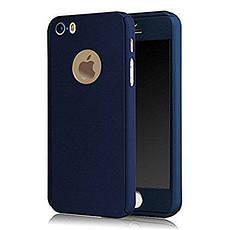 Чехол Бампер GKK для Iphone 5 / 5s оригинальный Blue с яблоком 360 + стекло в подарок