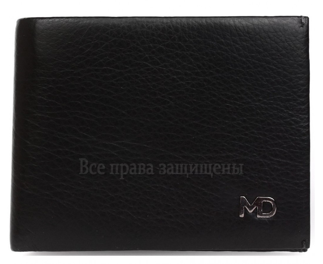Мужской кожаный кошелек черный MD-leather MD-555-10