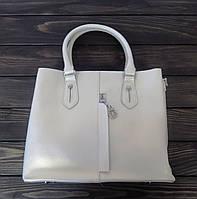 Деловая женская сумка белая с двумя ручками, фото 1
