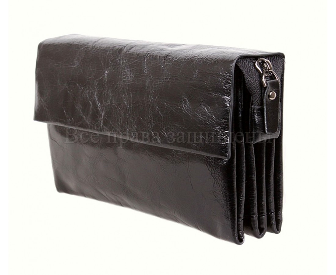 Кожаный клатч мужской черный NAVI 004-1 black