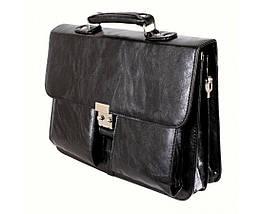 Мужской портфель искусственная кожа черный (Формат: А4 и больше) NAVI кт2974, фото 3