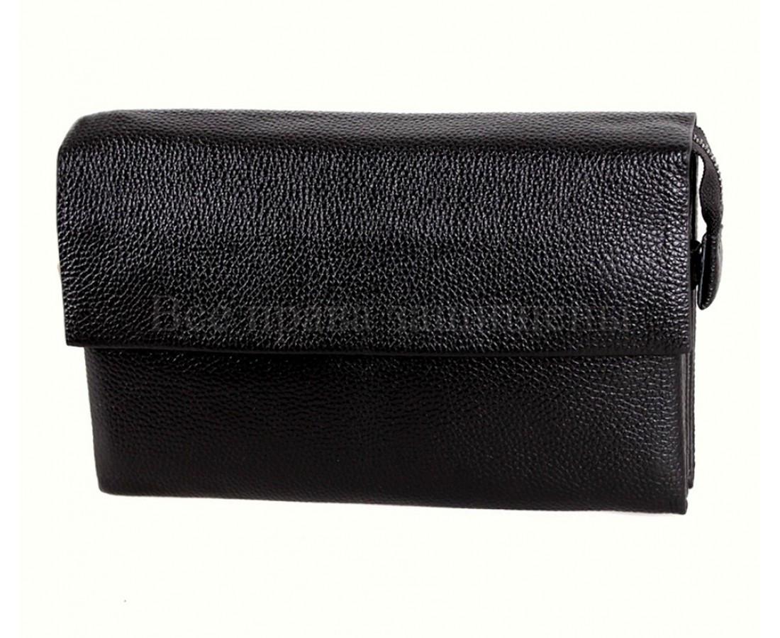 Кожаный клатч мужской черный NAVI 004-3 black